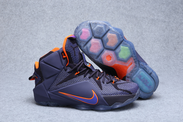 2015 Nike Lebron James 12 Black Purple Orange Shoes
