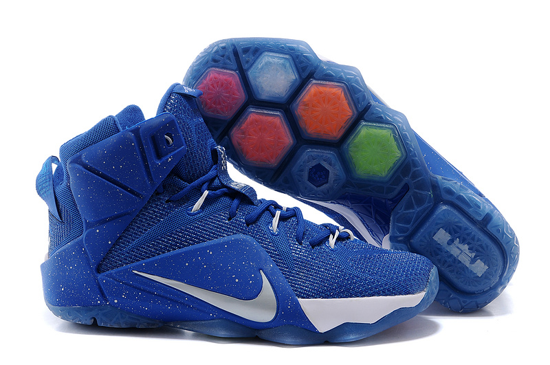 2015 Nike Lebron James 12 Blue White Logo Shoes