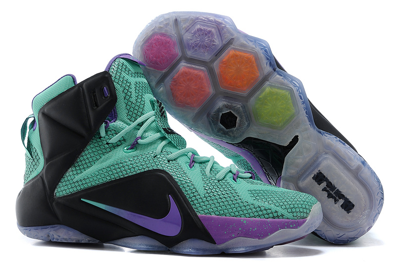 2015 Nike Lebron James 12 Green Purple Black Shoes