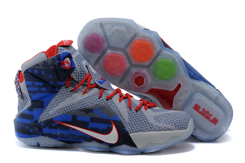 2015 Nike Lebron James 12 Grey Blue Red Shoes