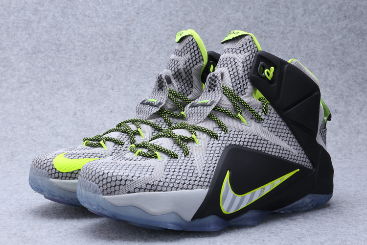 2015 Nike Lebron James 12 Grey Green Black Shoes