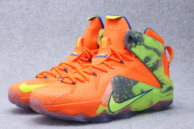 2015 Nike Lebron James 12 Orange Green Shoes