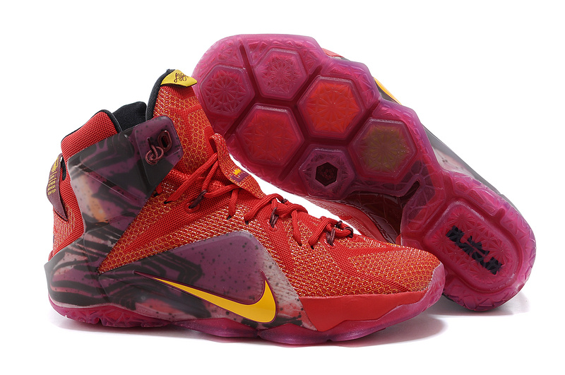 2015 Nike Lebron James 12 Wine Red Orange Logo Shoes