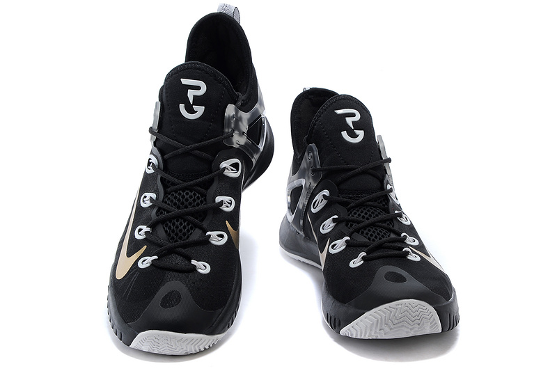 2015 Nike Paul George Team Shoes Black Grey Gold