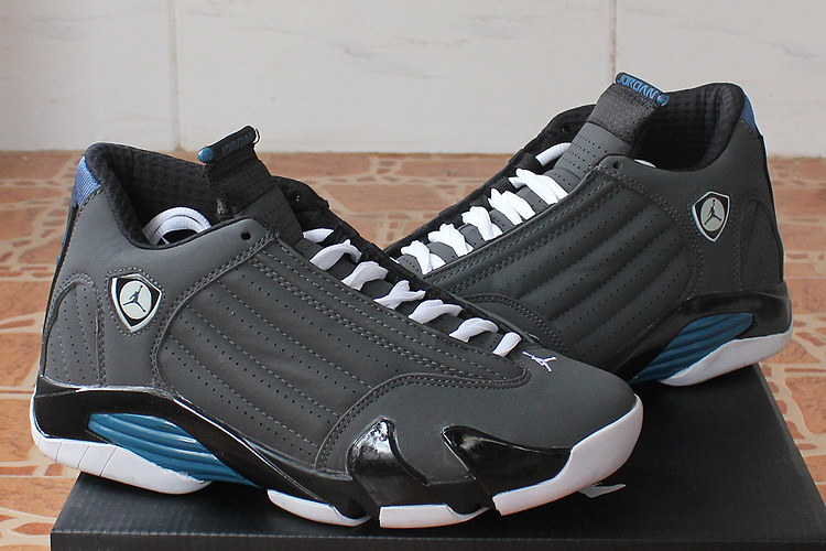 New Nike Air Jordan 14 Black Grey Blue Shoes