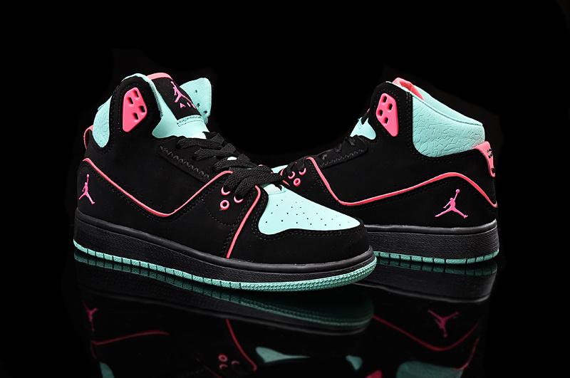 2015 Nike Women Air Jordan 1 Flight 2 Black Green Pink Shoes