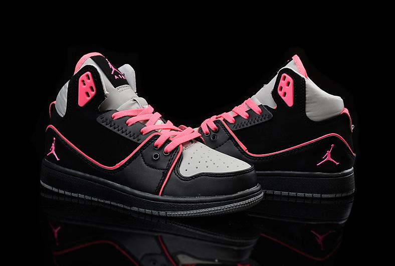 2015 Nike Women Air Jordan 1 Flight 2 Black Grey Red Shoes