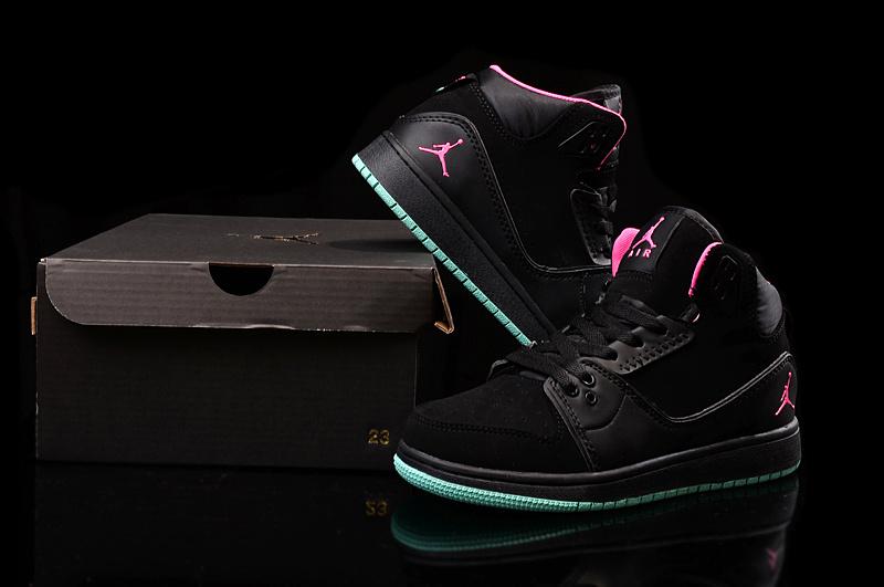 2015 Nike Women Air Jordan 1 Flight 2 Black Pink Green Shoes