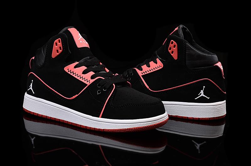 2015 Nike Women Air Jordan 1 Flight 2 Black Red Shoes