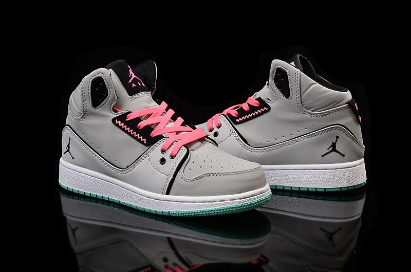 2015 Nike Women Air Jordan 1 Flight 2 Grey Pink Black Shoes