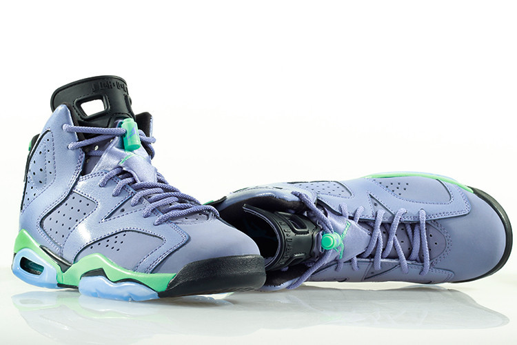 2015 Women Nike Air Jordan 6 Retro Light Purple Green Black Shoes