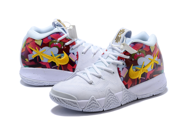 2018 kaws x nike kyrie 4 white multi color flower print