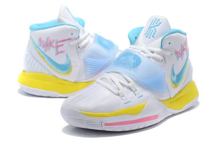 Nike Kyrie Irving 6 White Yellow Blue Pink For Women