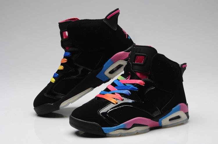 Nike Air Jordan 6 Black Colorful Womens Basketball Shoes