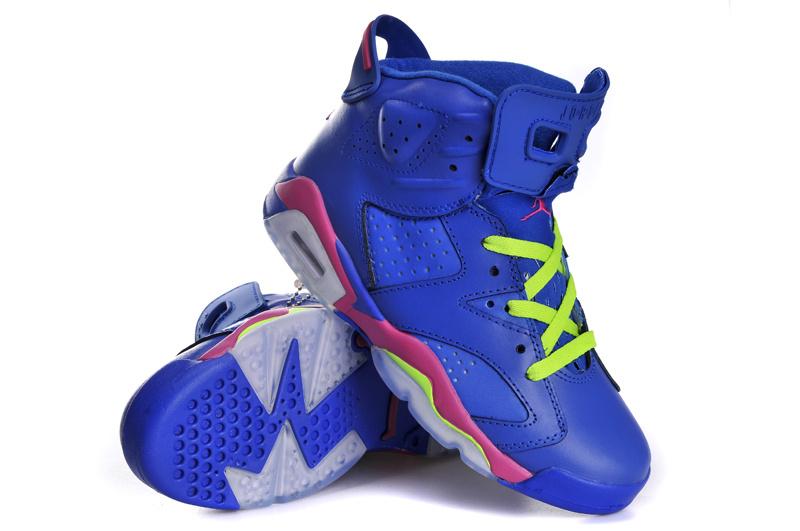 Nike Air Jordan 6 Retro Womens Shoes Blue Pink Grey