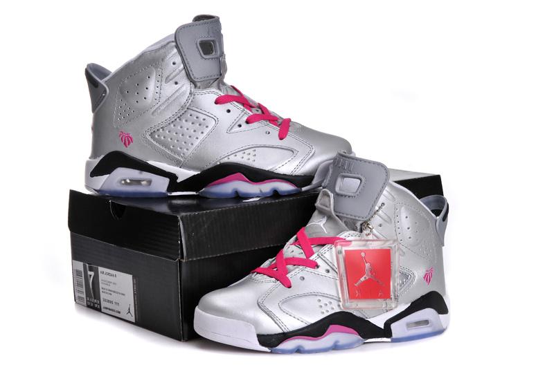 Nike Air Jordan 6 Retro Womens Shoes Silver Grey Red