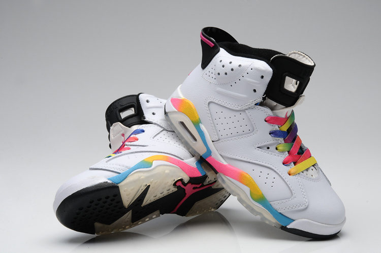 Air Jordan 6 White Colorful Basketball Shoes
