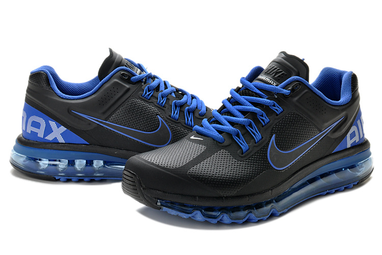 Air Max 2013 Leather Black Blue Shoes