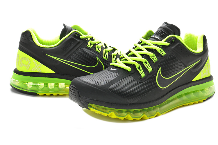 Air Max 2013 Leather Black Fluorscent Green Shoes