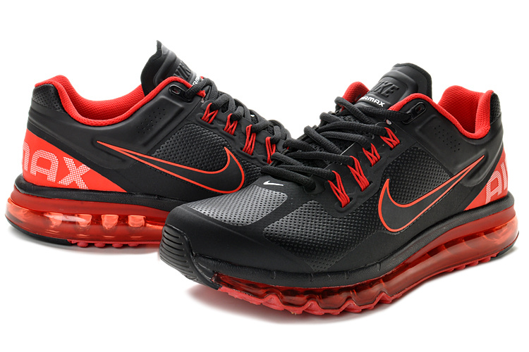 Air Max 2013 Leather Black Red Shoes