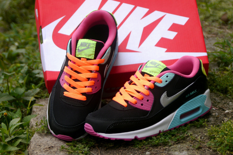 Nike Air Max 90 Black Pink Yellow Blue For Women