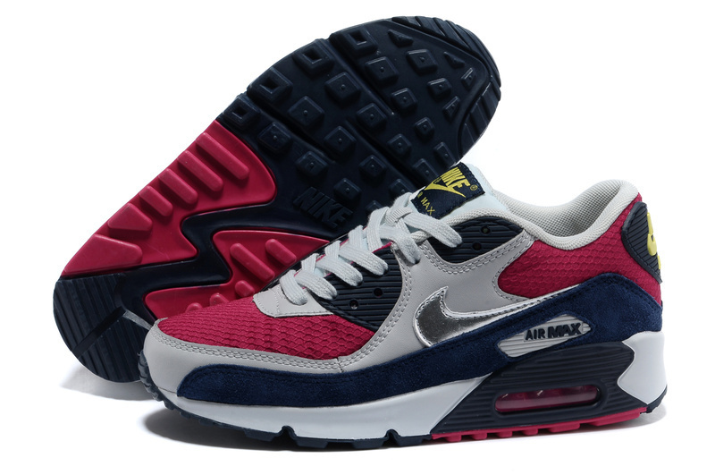 Nike Air Max 90 Grey Red Blue For Women