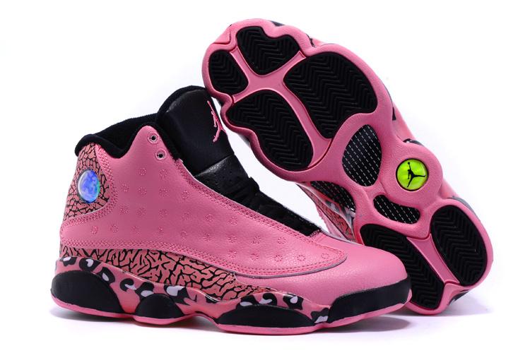 2015 Cheetah Print Air Jordan 13 Pink Black Shoes For Women