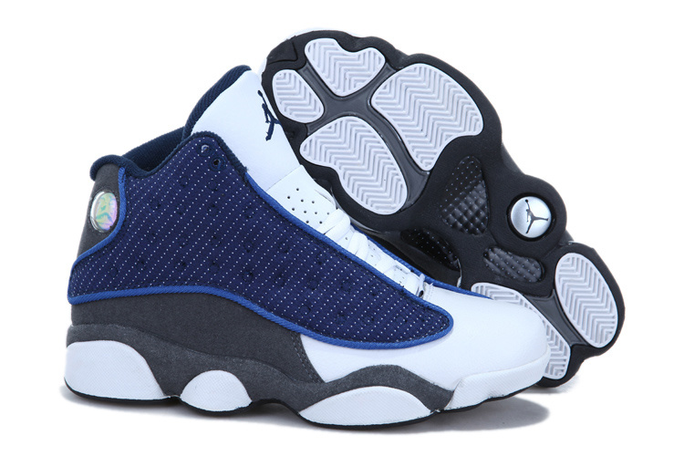 Nike Jordan 13 Womens Basketball Shoes White Blue Grey