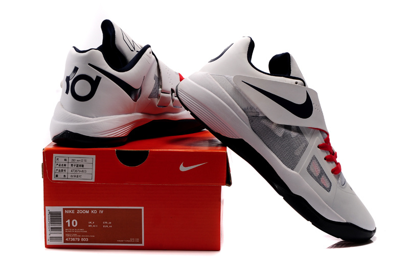 brand new a62a1 1704e Kevin Durant Shoes 4 Olympic White Black Red