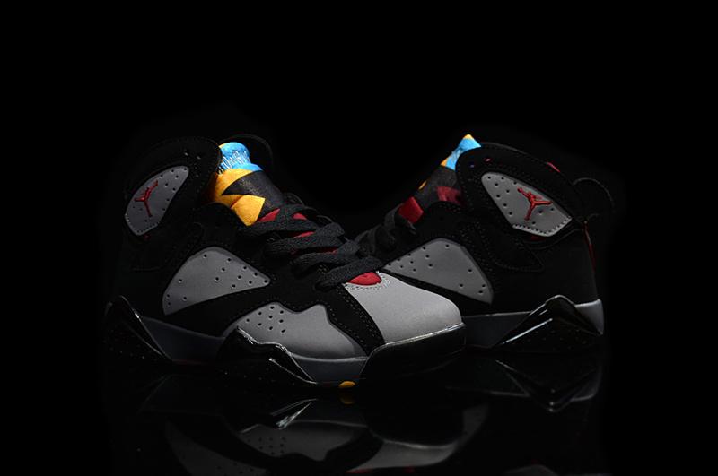 Kids' Nike Jordan 7 Retro Black Grey Red Shoes
