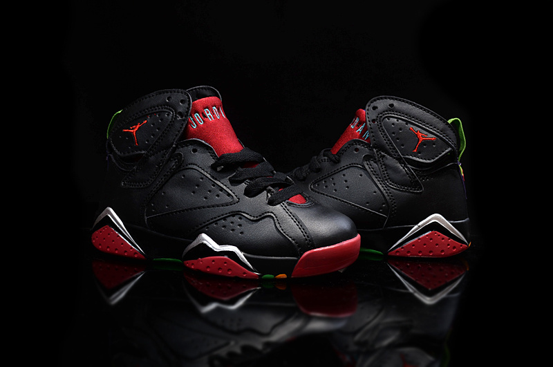 Kids' Nike Jordan 7 Retro Black Red Shoes