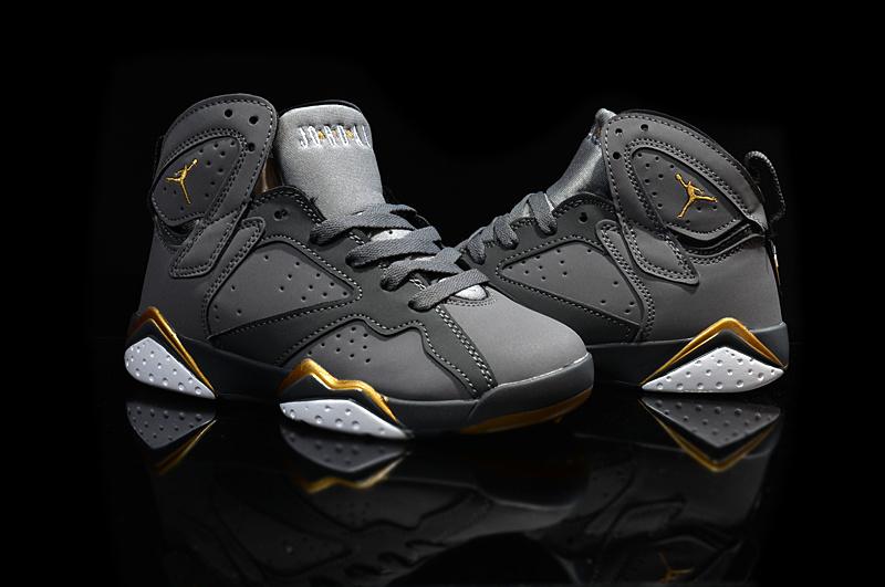 Kids' Nike Jordan 7 Retro Grey Gold Shoes