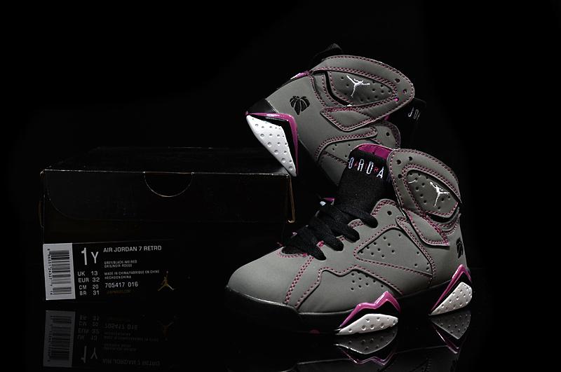 Kids' Nike Jordan 7 Retro Grey Purple Black Shoes