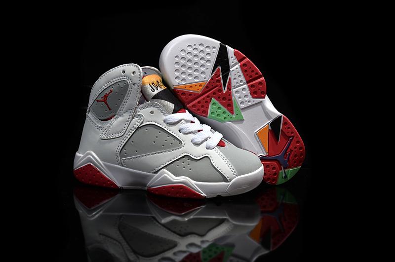 Kids' Nike Jordan 7 Retro White Grey Red Shoes