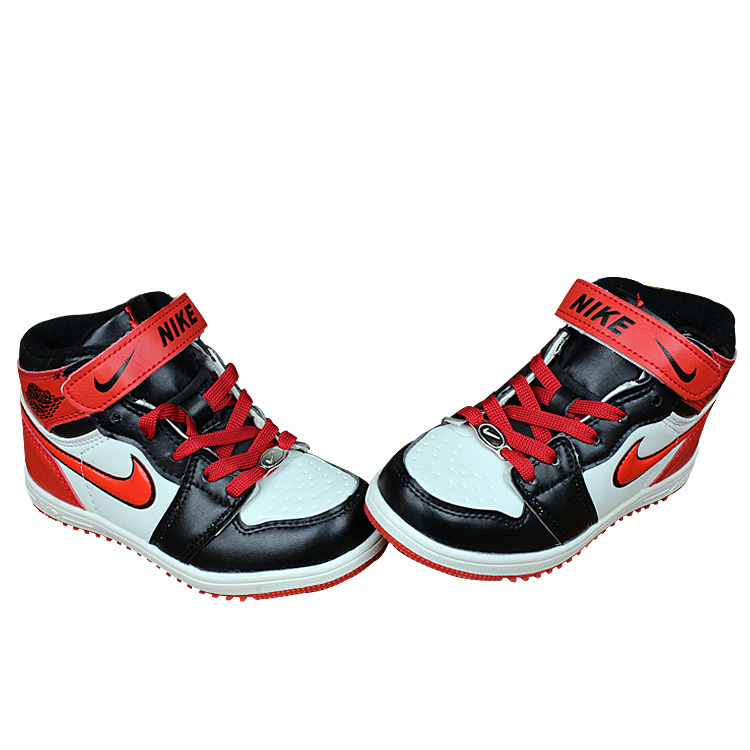 Kids Nike Air Force High Black Red White Shoes