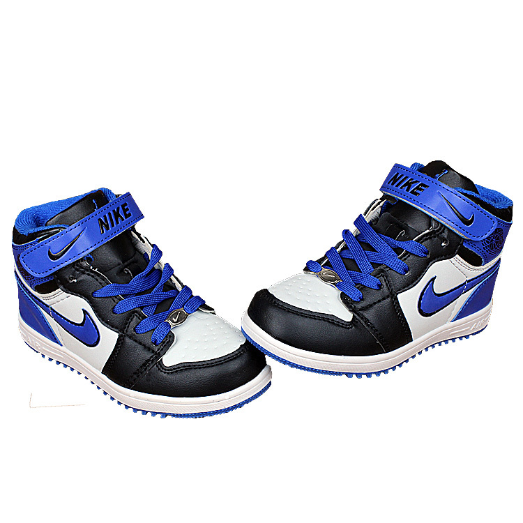 Kids Nike Air Force High Black Royal Blue White Shoes