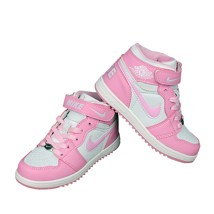 Kids Nike Air Force High Pink White Shoes