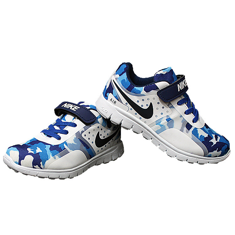 Kids Nike Air Force Strap Blue White Shoes