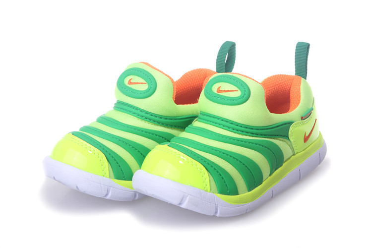 Nike Dynamo Free Fluorscent Green Orange White Shoes For Kids