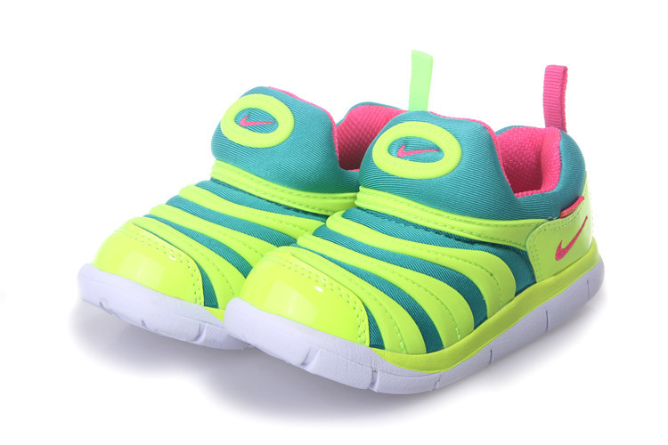 Nike Dynamo Free Fluorscent Green Red White Shoes For Kids