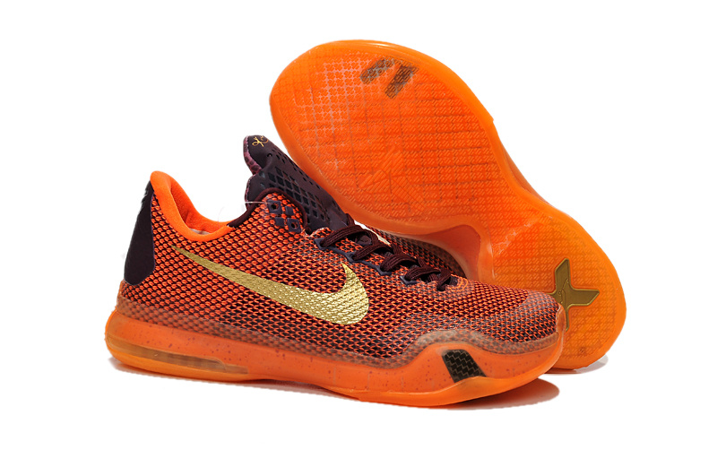 Kids Nike Kobe 10 Silk Road Orange Gold Shoes