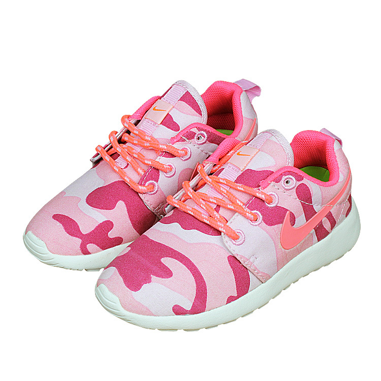 Kids Nike Roshe Run Pink Red White Shoes