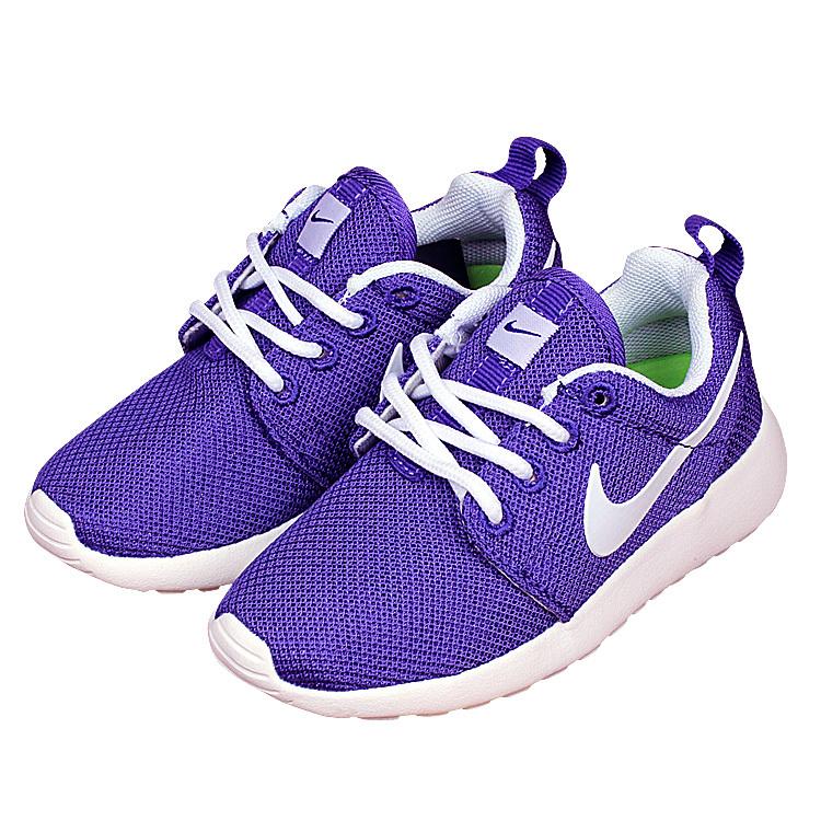Kids Nike Roshe Run Purple White Shoes
