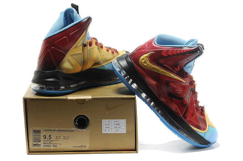 Nike Lebron 10 Shoes Steelman Red Gold Blue