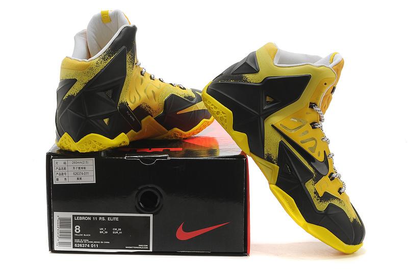 Buy Cheap New Nike Lebron James 11 Black Yellow Shoes Online