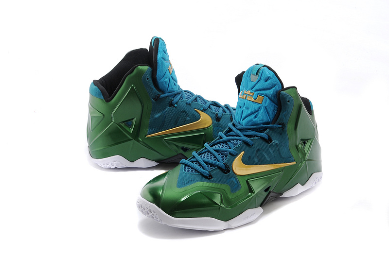 buy cheap new nike lebron james 11 dark green gold shoes