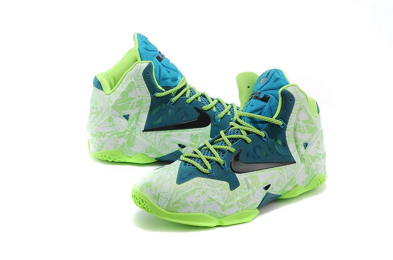 best service 6a865 1b1da Lebron 11 Shoes Green Nike White High Top Metallic Sneakers ...