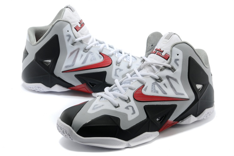 Nike Lebron James 11 Low White Grey Black Red Shoes