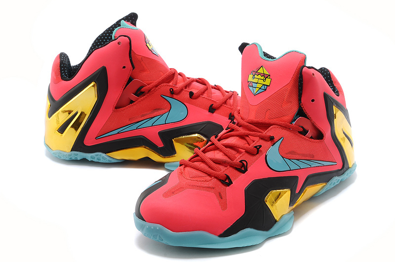 Latest Popular Lebron James 11 Super Hero Red Black Blue Gold Shoes