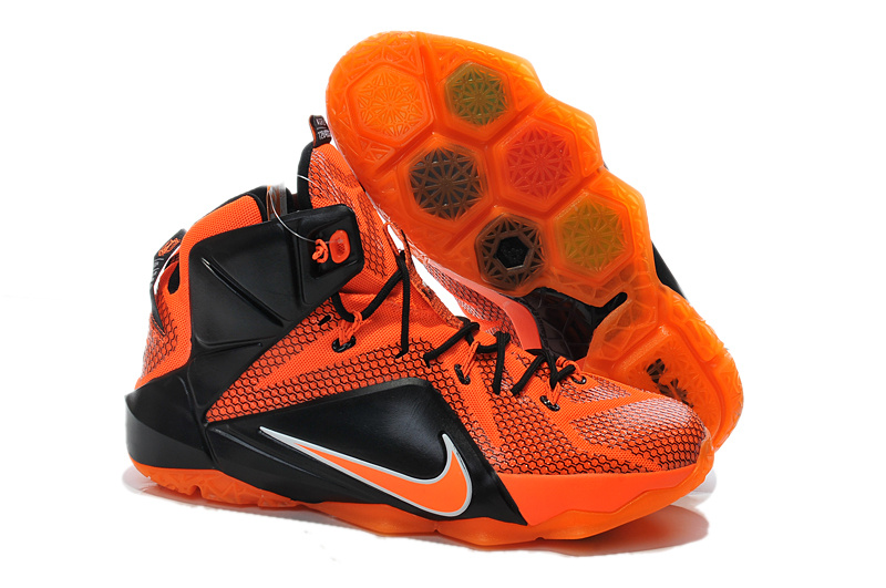 Lebron James 12 Orange Black Shoes